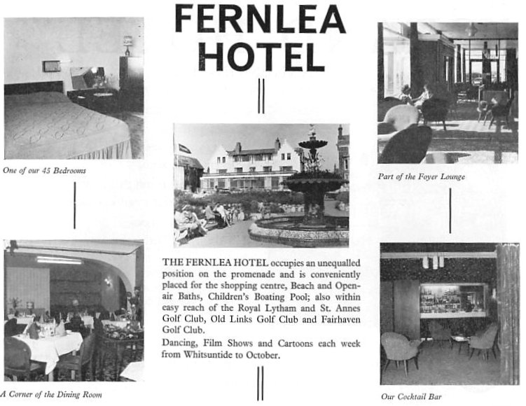 Advert for the Fernlea Hotel, St.Annes, 1965