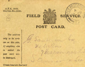 "A field service postcard sent by ""Frank"" to George Sanderson, ""The Willows"" 7 Headroomgate Road, St. Annes informing him that he had received his parcel. George Sanderson was the headmaster of Heyhouses School."