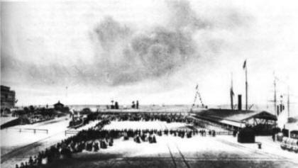 Fleetwood, 21 September 1847; Crowds awaiting the departure of Queen Victoria by train.
