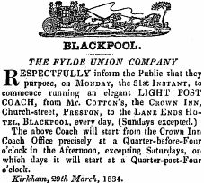 Advert for the Fylde Union Company, 1834.