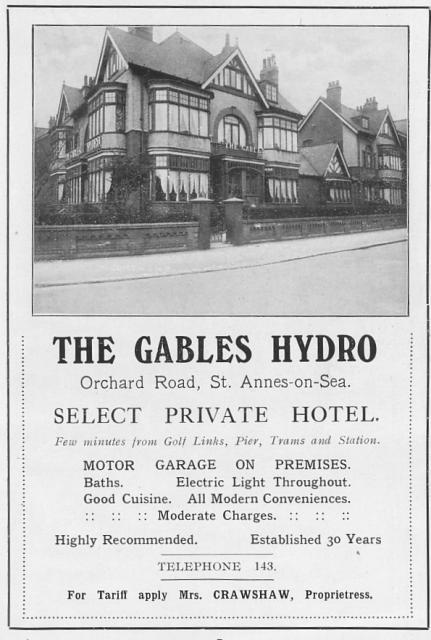 Advertisement from 1924 for the Gables Hotel, Orchard Road, St.Annes-on-the-Sea.