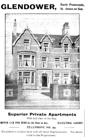 The Glendower Superior Private Apartments, St.Annes 1909.