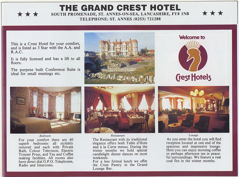 Advert for the Greand Hotel, 1983.
