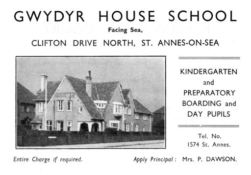 An advert for Gwydr House School, St.Annes, in 1948.