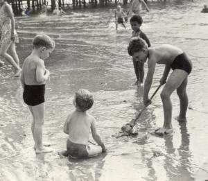 The heatwave, St.Annes, August 1955.