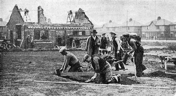 Laying out the bowling green and construction of the pavilion, King George V Playing Field, Heeley Road,St.Annes-on-the-Sea, 1938.
