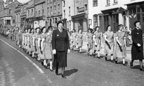 The Girl Guides, Civic Sunday Procession, Kirkham , June 1951.