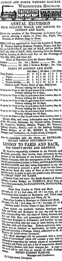 Newspaper advert for a L.N.W.R. Excursion from Preston, Wigan & Bolton to London in May,1850. Also an excursion from London to Paris. France with the South Eastern & Dover Railway Company.