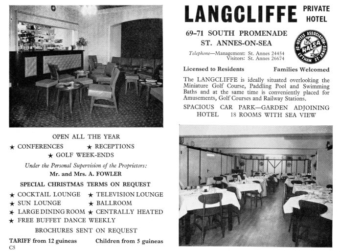 Advert for the Langcliffe Hotel, South Promenade, St.Annes-on-the-Sea, from 1967.