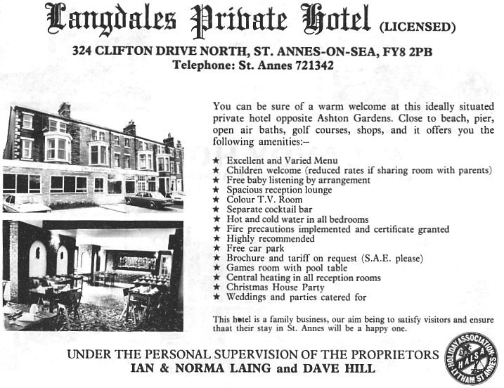Advert for the Langdales Hotel from 1979.