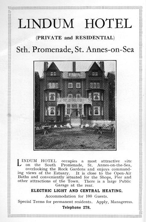 Advert for the Lindum Hotel, St.Annes from 1925.