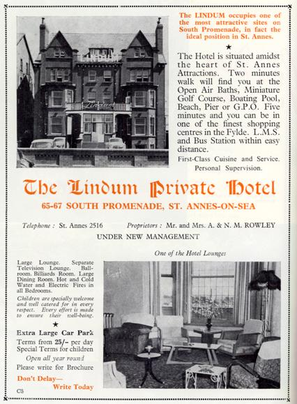 Advert for the Lindum Hotel for the 1952 season,