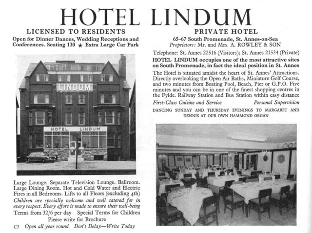 Advert for the Lindum Hotel from 1967.