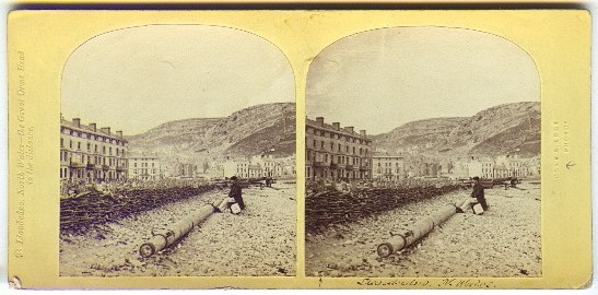 A late 1850s Ogle and Edge stereoview (no.98) of 'Llandudno, North Wales – The Great Orme Head in the distance.' This has the description typed to the left and 'Ogle and Edge' embossed into the card to the right.