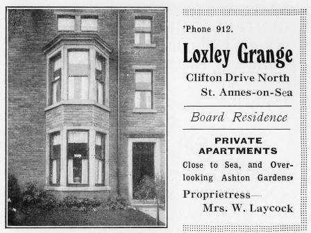 Loxley Grange Boarding House, 328 Clifton Drive North; an advert from 1934.