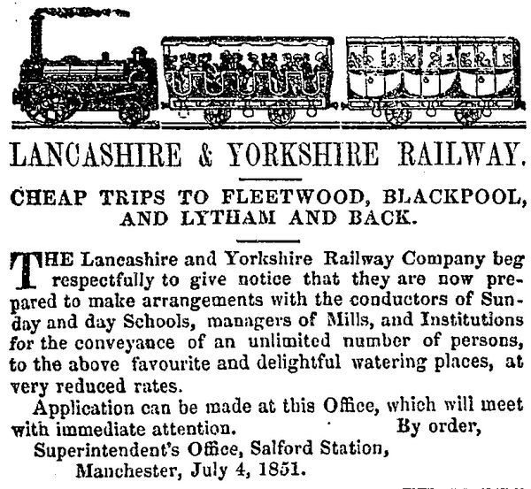 Newspaper Advert for the Lancashire & Yorkshire Railway Company's excursions, 1851.