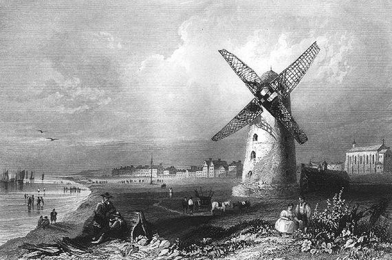 Lytham Windmill in 1840 with the kiln to the right.