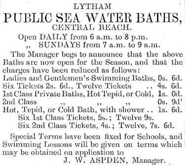 Advert for Lytham Baths from 1904.