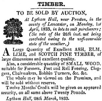 Advert for the sale of wood, Lytham Hall, 1833.