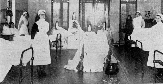 A festive decorative scene in the female ward of Lytham Hospital, Christmas 1935.