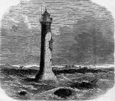 Lytham Lighthouse, on the Double Stanner, in the 1850s. It collapsed in the 1860s and was replaced by a wooden lighthouse.