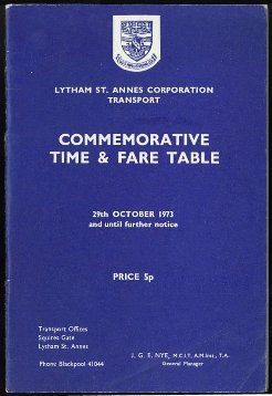 Lytham St.Annes Corporation Transport Commemorative Time and Fare Table 1973