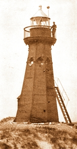 Lytham Lighthouse in the sand dunes (now the corner of Lightburne Avenue and Riley Avenue.