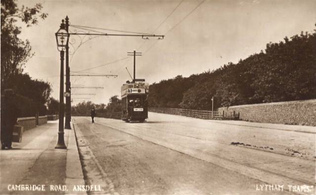 Photograph of an electric tram on Cambridge Road, Ansdell c1910.
