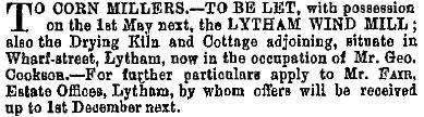 Advert for the lease of Lytham Windmill from 1881.