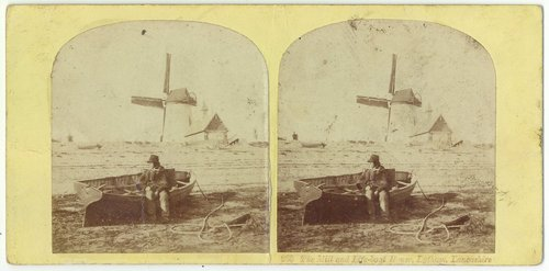 An 1850s Ogle and Edge stereoview of Lytham Windmill and Lifeboat House.