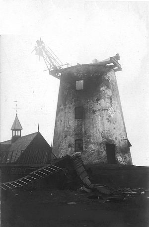 Lytham Windmill on 2nd January, 1919, the morning after the fire.
