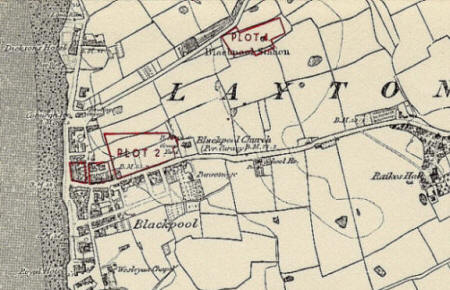 Land owned by the Lytham Charities in Blackpool; the long road running inland is Church Street & Newton Drive.