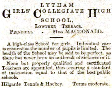 Advert for the Girl's Collegiate High School, Lytham 1899