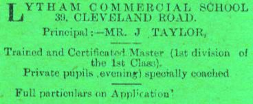 Lytham Commercial College advert, 1899.