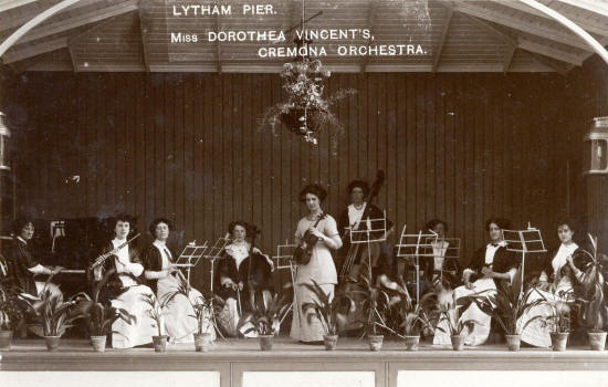 Dorothea Vincent's Ladies Cremona Orchestra, The Floral Hall, Lytham Pier, 1910.