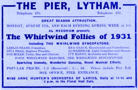 "Advert Advert for the ""Whirlwind Follies"" Lytham Pier, 1931.for the"
