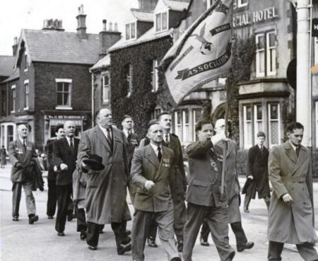 Representatives of the Air Force from R.A.F. Lytham and members of the R.A.F.A. in the Battle of Britain Sunday procession, Lytham, September 1953.