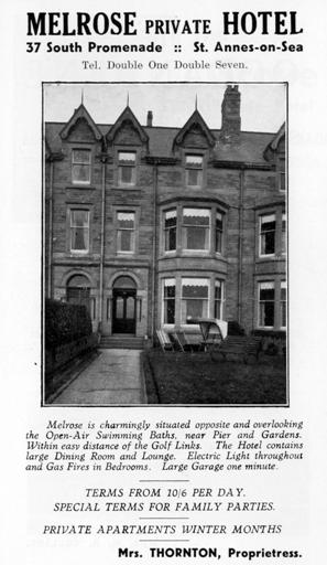 The Melrose Hotel, South Promenade, St.Annes-on-the-Sea, an advert from 1925.