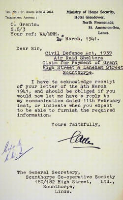During the 1939-45 War some Government departments were moved to Lytham St.Annes. The larger hotels were requisitioned with the Glendower Hotel housing the Ministry of Home Security. This letter concerns Government grants for air-raid shelters in Scunthorpe.