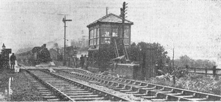 Moss Side Railway Station, showing the level crossing where Mr Thomas Morley, of St.Annes, crashed and met his death. November 1934.