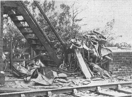 A close-up view of the tragic wreckage after the train had smashed the car into a thousand fragments.