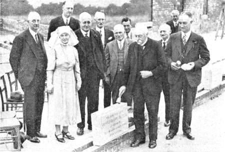 Sir William Hodgson laying the foundation stone of extensions to Moss Side Hospital in 1937.