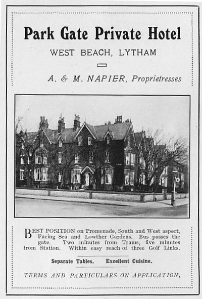 Advert from 1925 for the Park Gate Hotel, West Beach, Lytham.