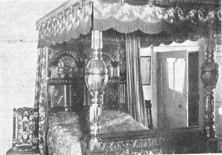 Canopied four-poster bed, dated 1614, Parrox Hall, c1928.