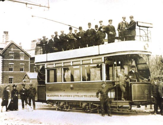 Blackpool, St.Annes & Lytham Tramways electric car no.6 at the junction of Clifton Drive and St.Annes Road West, 1903.