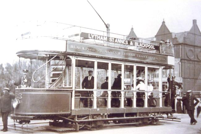 Blackpool, St.Annes & Lytham Tramways electric car no.33 at the junction of Clifton Drive and St.Annes Road West, 1905. These were nicknamed