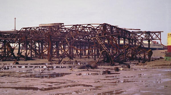 The demolition of the pierhead, St.Annes Pier, in 1984.