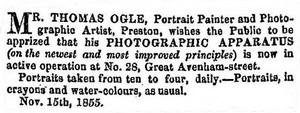Advert for Thomas Ogle, photographic artist, Preston, 1855.