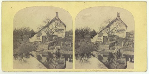 An 1850s Ogle and Edge stereoview of a cottage on the River Brock, near Preston. In the foreground a man is scooping water from the pond.