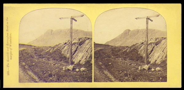 An 1850s or 1860s Thomas Ogle stereoview of the Keswick and Ravenglass Road.